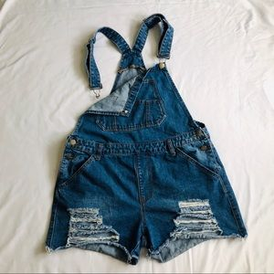 American Bazi Overall Distressed Shorts